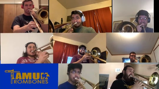 "Trombone players from Texas A&M University-Kingsville perform ""Song for Health"" in a Facebook video to salute health care and public service workers during the coronavirus pandemic."