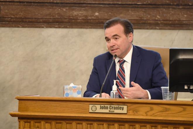City of Cincinnati Mayor Cranley discusses CincinnatiÕs furloughs during a council meeting on Wednesday April 1, 2020.