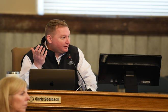 City of Cincinnati Council Member Chris Seelbach discusses furloughs during a city council meeting on Wednesday April 1, 2020.
