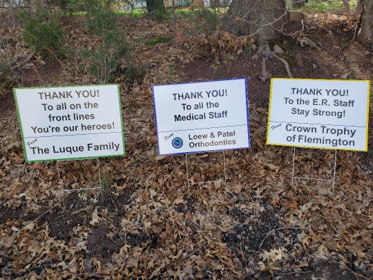Jim Gano of Signs by Crown in Flemington started an initiative to thankandfeed nurses, doctors, and support personnel at Hunterdon Medical Center during the COVID-19 crisis.The shop is producing and sellinglawn signsthat individuals or businesses can sponsor to thank the staff at Hunterdon Medical Center, local fire departments, rescue squads and police departments for their efforts battling the pandemic. Further,Signs By Crown will donate $5from the sale of each sign to the Hunterdon Medical Center Foundation to be used to pay for meals for doctors, nurses and support staff.