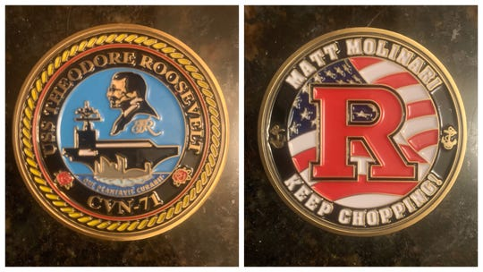 The front and back of a challenge coin Matt Molinari shared with his high school baseball coach.