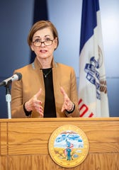 Iowa Governor Kim Reynolds gives an update on COVID-19 at the State Emergency Operations Center in Johnston, IA  Wednesday, April 1, 2020.