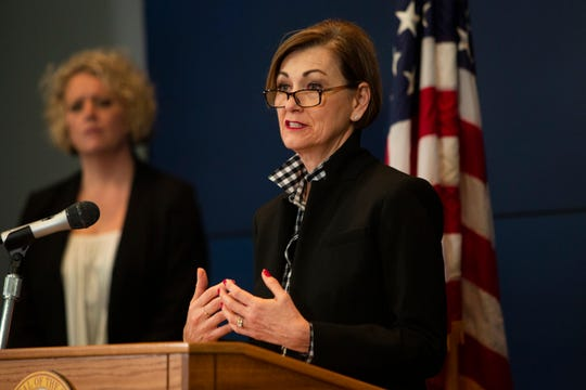 Iowa Governor Kim Reynolds announces updates on COVID-19 at a news conference on Tuesday, March 31 at the State Emergency Operations Center in Johnston. Deputy Director of the Iowa Department of Public Health Sarah Reisetter estimated the statewide peak of COVID-19 to remain two to three weeks away.
