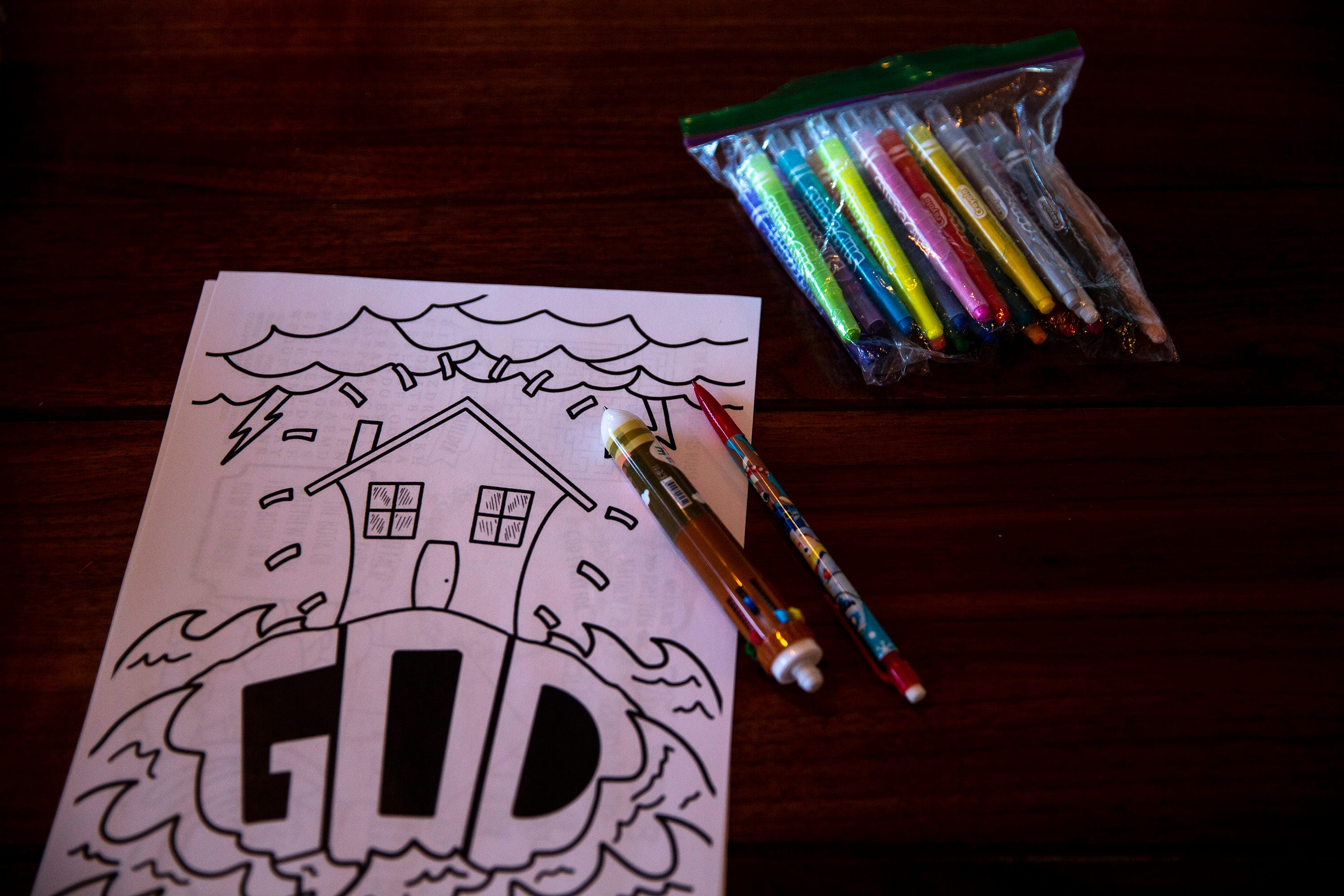 One of Lutheran Church of Hope's printable coloring pages, themed to each week's service, sits out ready to be colored on March 29, 2020.