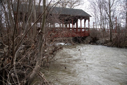 Covered bridge at Ford Field Park in Dearborn on April 1, 2020.