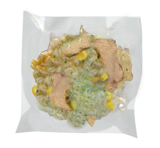 Chicken with Corn over Rice is one of the new pouch meals from Clean Planet Foods in Royal Oak.