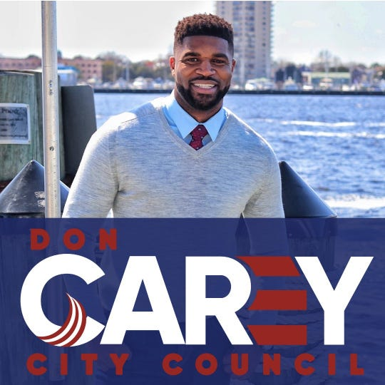 Former Detroit Lions safety Don Carey and his campaign advertising in his race for a city council seat in Chesapeake, Va.