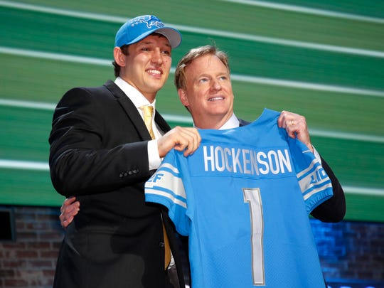 NFL commissioner Roger Goodell, with Lions first-round pick T.J. Hockenson, at the 2019 NFL Draft.
