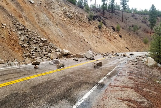 A rockslide on Highway 21 near Lowman, Idaho, after a magnitude 6.5 earthquake struck Tuesday, March 31, 2020.