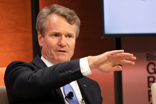 Brian Moynihan, CEO of Bank of America, speaks at Bloomberg Global Business Forum last September. His bank is very active in the small business lending program under the Cares Act.
