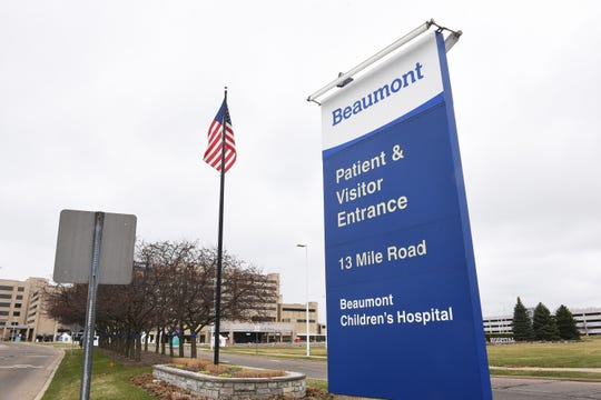 Exterior photo of Beaumont Hospital from the 13 Mile Road entrance. March, 31, 2020, Royal Oak, Mi.