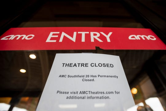 The AMC Star Southfield 20 movie theater has a sign on the door announcing a permanent closure on April 1, 2020.