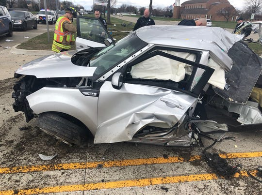 The Kia Soul crashed after the multi-county chase.