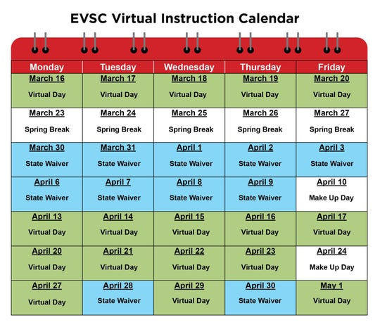 EVSC virtual instruction calendar