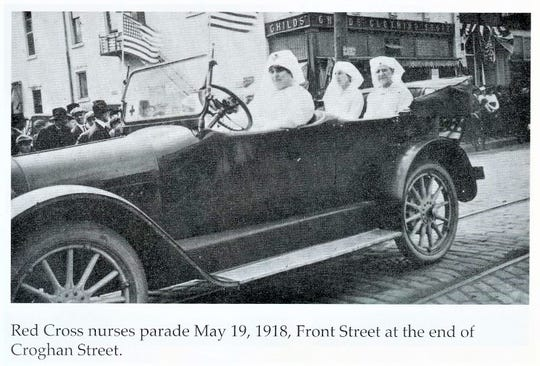 In 1918, Red Cross nurses had a parade in Fremont.