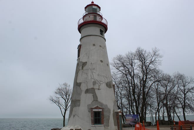 Exterior painting on the Marblehead Lighthouse will resume sometime this month, with hopes of completing the renovation by May, weather permitting.