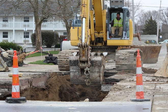 Work continued Tuesday on Port Clinton's Jefferson Street project in the city's downtown area.