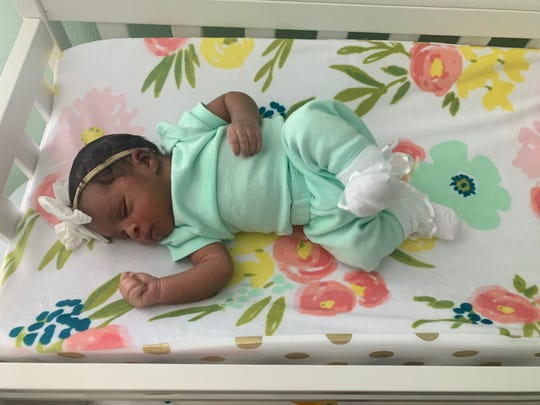 """Kennedi Greer arrived into the world at 12:24 p.m. on Thursday, March 19, at The BirthPlace at NCH in Naples. Her mother, Kami Greer, limits her news and social media consumption about the pandemic. She hopes mothers reach out to providers if they need help. """"Every emotion they're feeling right now is completely justified,"""" she said."""