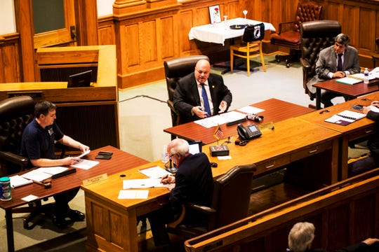 Lee County Commissioner Cecil Pendergrass speaks at one of three emergency meetings of the Board of County Commissioners held over the past two weeks.  A zoning meeting of the commission, scheduled for Wednesday  April 8, has been canceled because of concern over drawing a crowd  amid uncertainty over a surve in COVID-19 virus cases.