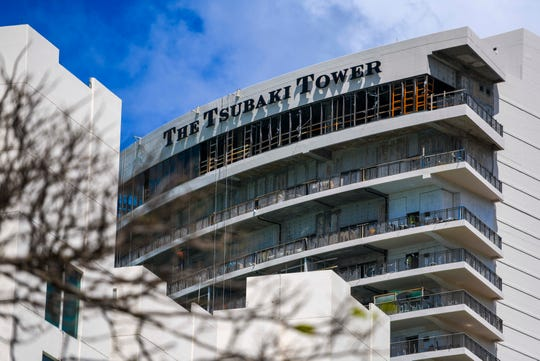 Work continues on the completion of The Tsubaki Tower in Tumon on Wednesday,  April 1, 2020.