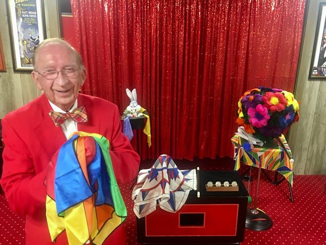 Henderson resident Norris Priest in his magic studio located in the basement of his home.