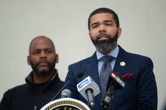During a Wednesday, April 1, 2020, news conference, Jackson Mayor Chokwe Antar Lumumba announces a two-week-long, stay-at-home order for the city of Jackson due to the coronavirus to begin midnight Friday, April 3, 2020, to last two weeks.