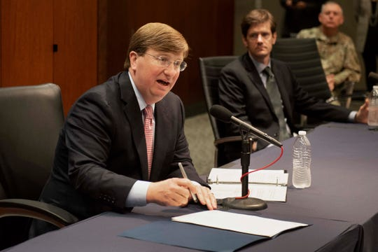 Mississippi Governor Tate Reeves speaks during a live stream press conference on Wednesday in Jackson at the Woolfolk Building. Reeves was there to sign and discuss an executive-order for the state to shelter-in-place during the coronavirus outbreak. The order will go into effect starting Friday, April 3 at 5:00 p.m. and remain in place until further notice. Wednesday, April 1, 2020.