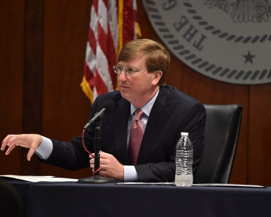 Mississippi Governor Tate Reeves speaks during a live stream press conference on Wednesday in Jackson at the Woolfolk Building. Reeves was there to sign and discuss an executive-order for the state to shelter-in-place. The order will go into effect starting Friday, April 3 at 5:00 p.m. and remain in place until further notice. Wednesday, April 1, 2020.