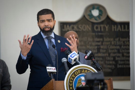 During a Wednesday, April 1, 2020, press conference, Jackson Mayor Chokwe Antar Lumumba announces a  stay-at-home order for the city of Jackson due to the coronavirus pandemic. It's to begin midnight Friday, April 3, 2020,  and last two weeks.
