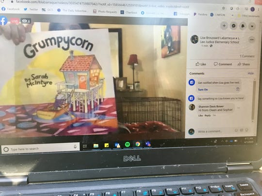 "L. Leo Judice Elementary librarian Lisa Labarraque reads ""Grumpycorn"" by Sarah McIntyre in a Facebook Live video April 1, 2020, for students and families home while schools are closed to help stop the spread of COVID-19."