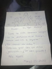 Julia Lopez, pre-K Spanish immersion teacher at Charles M. Burke Elementary School, wrote letters to her students to help them keep up their Spanish skills and to show them how much she cares. This letter was to 4-year-old Raiden Meche.