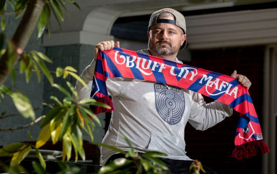 Parks Russell is the cofounder of Bluff City Mafia, the supporters section for 901 FC. Photographed Wednesday, April 1, 2020, at his home in Memphis.