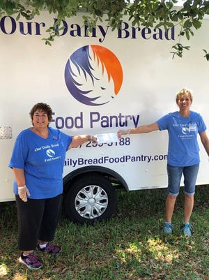 The Noontime Rotary Club of Marco Island made an emergency donation from the club's foundation to Nancy Kot and Joanne Lundquist oof Our Daily Bread.