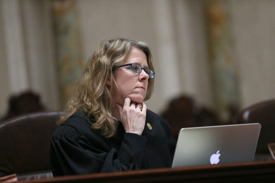 Justice Rebecca Grassl Bradley listens during a 2018 Wisconsin Supreme Court session.