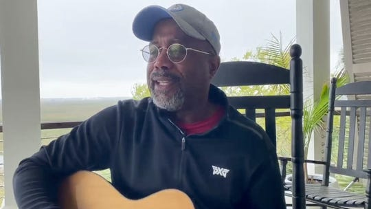 "Darius Rucker performs from home for the new CBS TV special ""ACM Presents: Our Country."""
