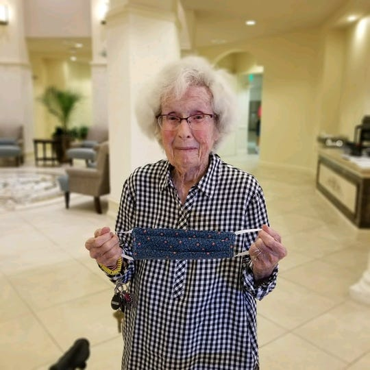 Ruth Anderson, 101, makes quarantine masks from her apartment at The Arlington in Naples
