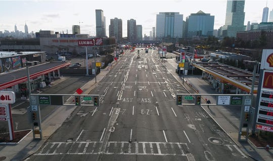 Drone image of light traffic at the entrance of the Holland Tunnel around 8:15am on Wednesday, April 1, 2020, in Jersey City.