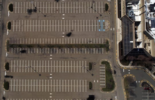 Drone image of the empty parking lot at the Paramus Park Mall on Wednesday, April 1, 2020, in Paramus at 10:50 am.