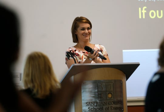 United Way Executive Director Cathryn Abeyta talks, July 28, 2016 during a United Way fundraising meeting at San Juan College School of Energy in Farmington.
