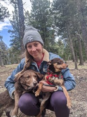 Dustin Sadler and two of her furry family members on a camping trip near Clouscroft.