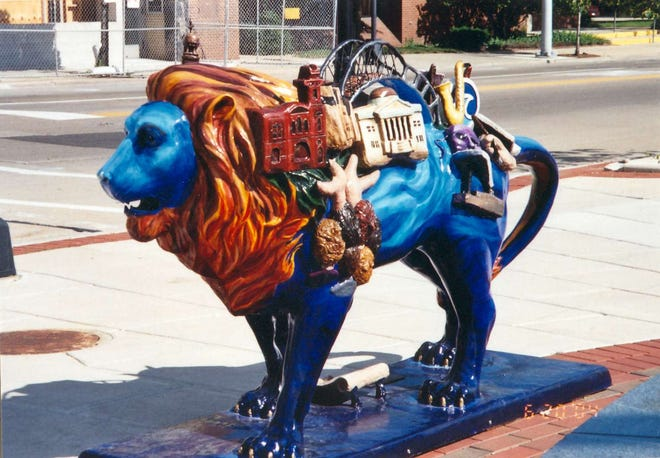 """Oshkosh Pride Renewed"" by Hillary Borchardt and Renee Koch stands at Opera House Square as part of the ""Pride of Oshkosh"" public art exhibit in 2004."