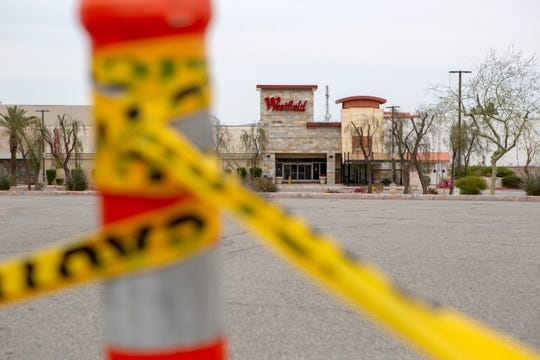 Westfield Mall is scene devoid of people during the temporary closure to slow the spread of the coronavirus in Palm Desert, Calif, on March 31, 2020.