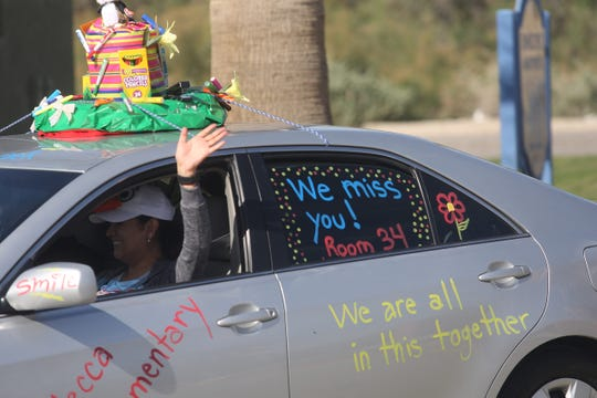 """Mecca Elementary School teachers drove through Mecca in a """"parade"""" to say hello from a safe distance to their students on April 1, 2020."""