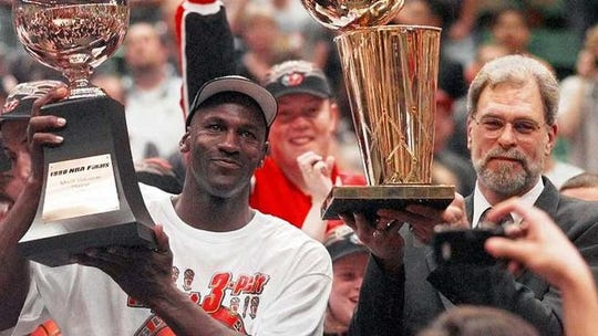 Michael Jordan and Phil Jackson won six NBA titles together for Chicago with the final one coming in 1998.