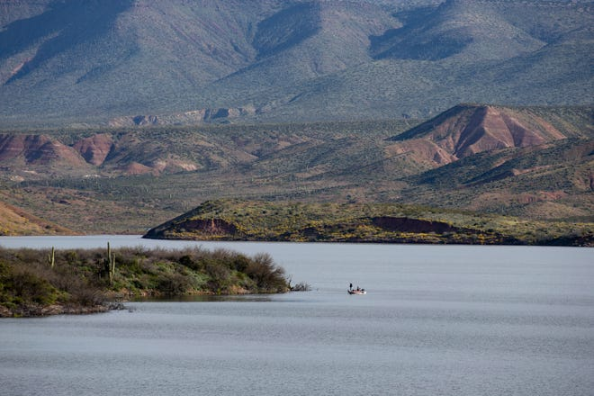 Roosevelt Lake sits 97% full on March 31, 2020. The wet winter filled reservoirs managed by Salt River Project.