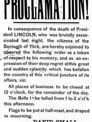 """""""Within the memory of the writer of this,"""" wrote York Gazette owner David Small, """"York has never experienced a day of such universal gloom … ."""""""