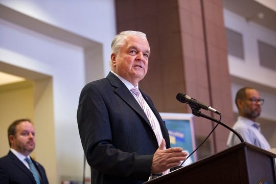 Nevada Gov. Steve Sisolak discusses measures to help the public with housing stability amid the COVID-19 public health crisis at the Grant Sawyer Building in Las Vegas, Sunday, March 29, 2020. (Rachel Aston/Las Vegas Review-Journal via AP, Pool)