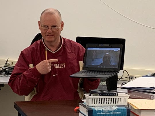 David Fairley, a math teacher from West Valley High School, at a workshop held in March to help teachers develop distance education courses. Starting in April, California's K-12 education efforts will move online amid coronavirus concerns.
