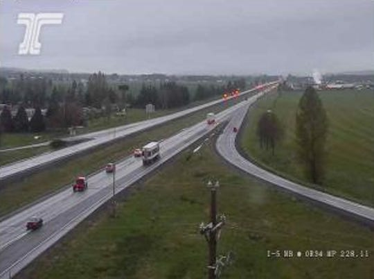 A crash closed southbound lanes of I-5 south of Albany Wednesday morning.