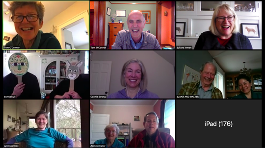 Neighbors in the Court-Street Historic District gather for a virtual Bacchus wine social on Saturday, March 28, 2020, via Zoom. Top row, left to right: Aislinn Adams, Tom O'Connor and Juliana Inman. Middle row: Roger and Bonnie Hull, Connie Moore Strong and Walter Suttle and Juana Morales Garcia. Bottom row: Cynthia Wilcox, Lois and Craig Parker and Hazel Patton.